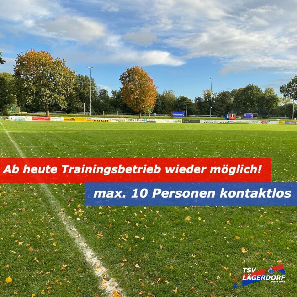 Trainingsbetrieb für Fußballer im Freien wieder möglich, bis zu 10 Personen, kontaktlos.
